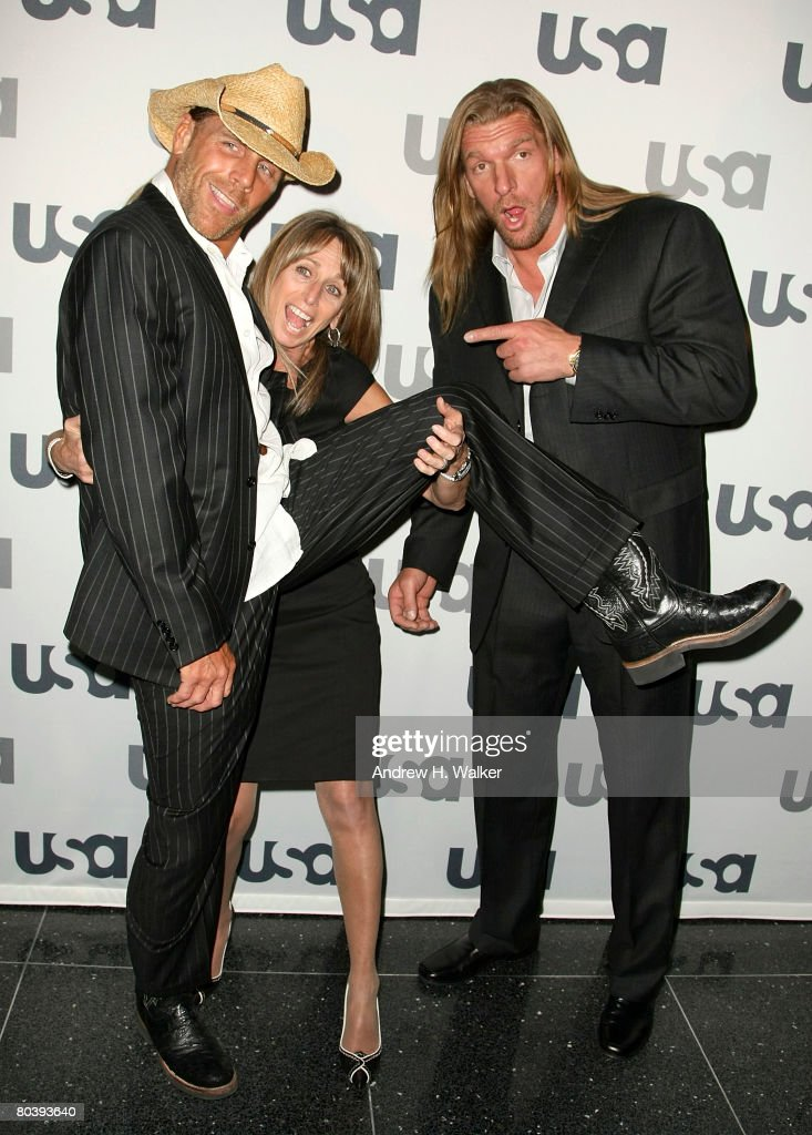 WWE wrestlers Shawn Michaels and Triple H and USA Networks president Bonnie Hammer attend the USA Network Upfront at The Modern on March 26, 2008 in New York City.