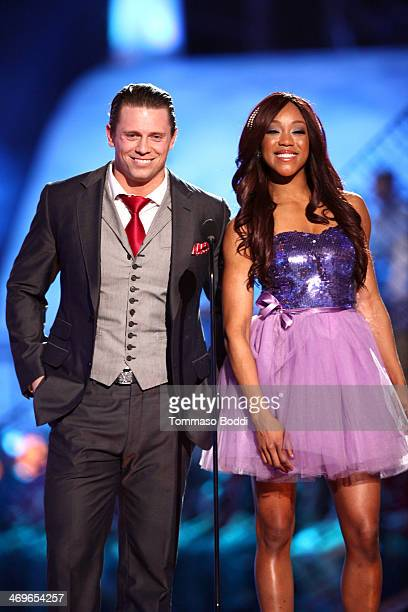 WWE wrestlers The Miz and Alicia Fox speak onstage during the 4th Annual Cartoon Network Hall Of Game Awards held at the Barker Hangar on February 15...