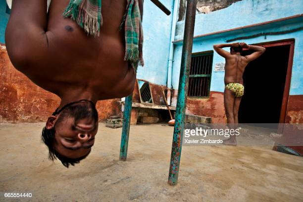Wrestlers training during Kushti the ancient tradition of sacred Indian wrestling on October 28 2005 at Varanasi Uttar Pradesh India