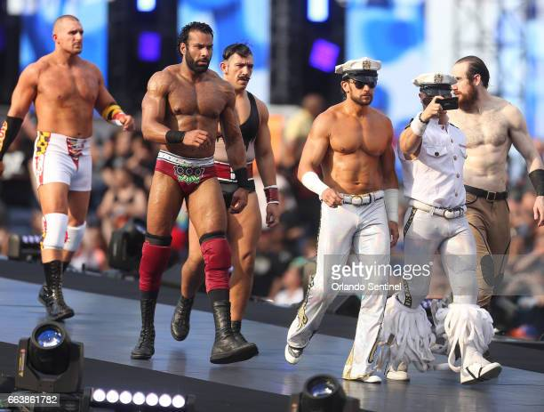 Wrestlers walk to the Battle Royal during WrestleMania 33 on Sunday April 2 2017 at Camping World Stadium in Orlando Fla