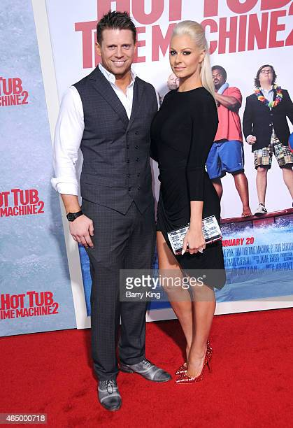 Wrestler/tv personality Mike 'The Miz' Mizanin and wife Maryse Ouellet attend the premiere of 'Hot Tub Time Machine 2' at Regency Village Theatre on...