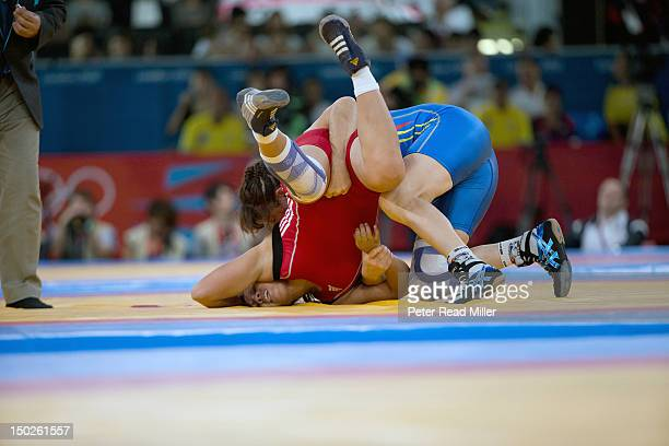 2012 Summer Olympics Columbia Ana Talia Betancur in action vs Spain Maider Unda during Women's 72kg Freestyle 1/8 Finals at ExCel Centre London...