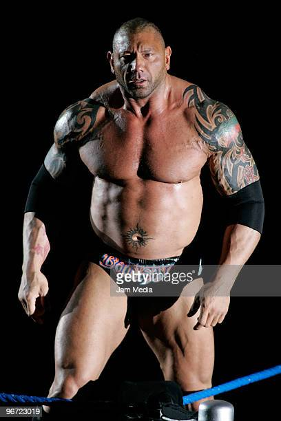 Wrestling fighter Batista during the WWE Smackdown wrestling function at Plaza Vicente Fernandez on February 14 2010 in Guadalajara Mexico