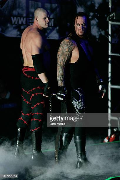 Wrestling fighters Kane and Fight Undertaker during the WWE Smackdown wrestling function at Plaza Vicente Fernandez on February 14 2010 in...