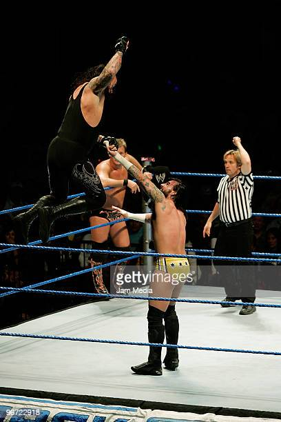 Wrestling fighters MC Punk and Fight Undertaker during the WWE Smackdown wrestling function at Plaza Vicente Fernandez on February 14 2010 in...
