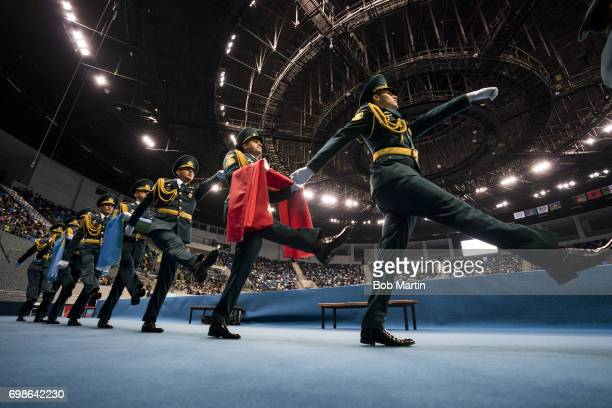 Islamic Solidarity Games View of flag bearing guards before Men's freestyle competition at Heydar Aliyev Arena Baku Azerbaijan 5/19/2017 CREDIT Bob...