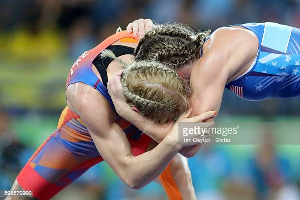 Day 12 Haley Ruth Augello of the United States in action against Jessica Blaszka of The Netherlands during their Women's Freestyle 48 kg bout at the...