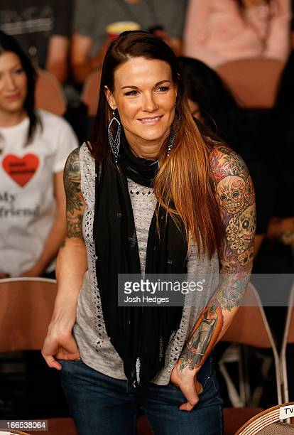 Wrestling personality Amy Dumas in attendance at the Mandalay Bay Events Center on April 13 2013 in Las Vegas Nevada
