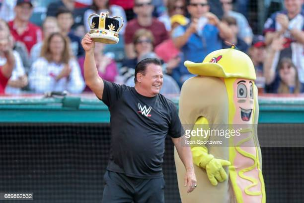 Wrestling superstar Jerry The King Lawler makes an appearance during the Sugardale Hotdog Derby during the fifth inning of the Major League Baseball...
