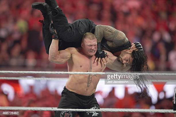 WrestleMania 31 Brock Lesnar in action vs Roman Reigns during event at Levi's Stadium Santa Clara CA 3/29/2015 CREDIT Jed Jacobsohn