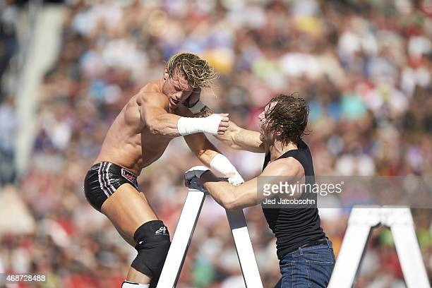 WrestleMania 31 Dean Ambrose and Dolph Ziggler in action fighting on ladder during event at Levi's Stadium Santa Clara CA CREDIT Jed Jacobsohn