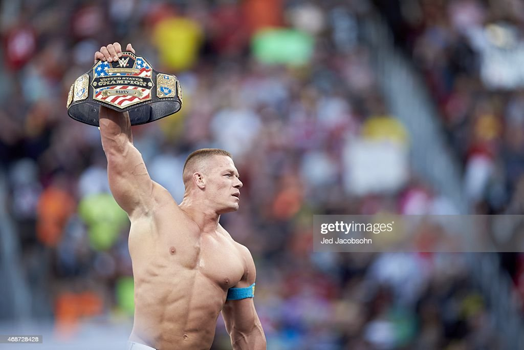 WrestleMania 31 John Cena victorious in ring with belt during event at Levi's Stadium Santa Clara CA 3/29/2015 CREDIT Jed Jacobsohn