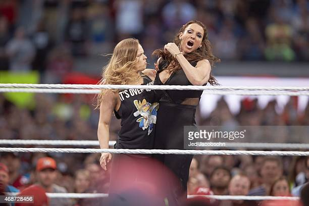 WrestleMania 31 MMA fighter Ronda Rousey in action chokehold vs Stephanie McMahon during event at Levi's Stadium Santa Clara CA CREDIT Jed Jacobsohn