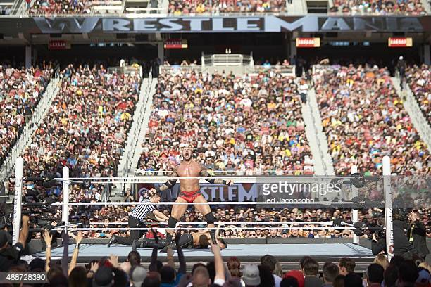WrestleMania 31 Randy Orton victorious standing over Seth Rollins during event at Levi's Stadium Santa Clara CA CREDIT Jed Jacobsohn