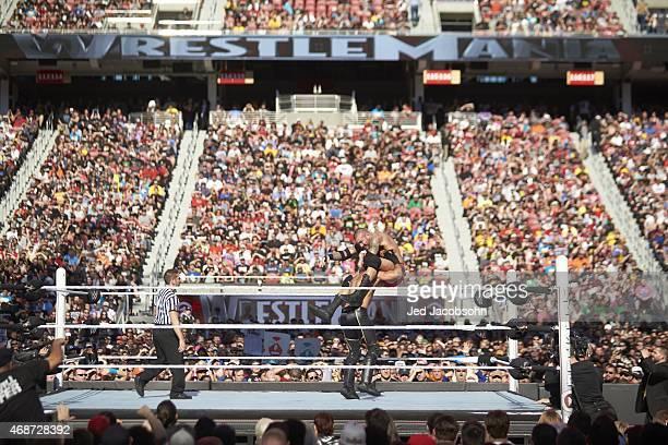 WrestleMania 31 Seth Rollins in action vs Randy Orton during event at Levi's Stadium Santa Clara CA CREDIT Jed Jacobsohn