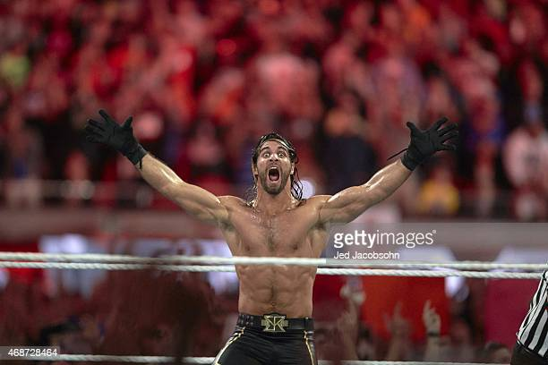 WrestleMania 31 Seth Rollins victorious in ring during event at Levi's Stadium Santa Clara CA CREDIT Jed Jacobsohn