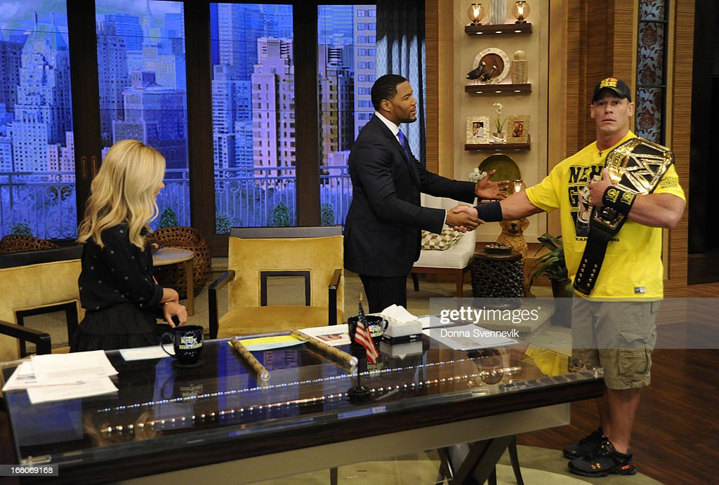 MICHAEL - 4/8/13 - Wrestmania champion John Cena visits LIVE with Kelly and Michael,' distributed by Disney-ABC Domestic Television. (Photo by Donna Svennevik/ABC via Getty Images) KELLY