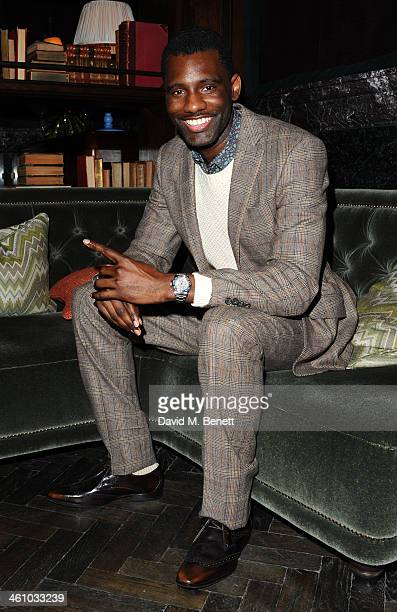 Wretch 32 arrives for the London Collections Men Esquire party at the Rosewood London on January 6 2014 in London England