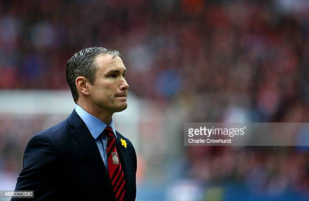 Wrexham manager Kevin Wilkin during the The FA Carlsberg Trophy Final match between North Ferriby United and Wrexham at Wembley Stadium on March 29...