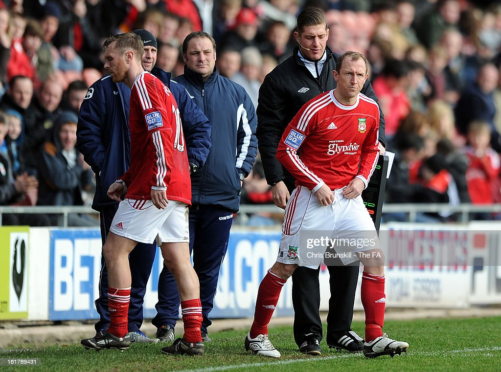 Wrexham player-manager Andy Morrell replaces <a gi-track='captionPersonalityLinkClicked' href=/galleries/search?phrase=Brett+Ormerod&family=editorial&specificpeople=240459 ng-click='$event.stopPropagation()'>Brett Ormerod</a> during the FA Trophy Semi-Final match between Wrexham and Gainsborough Trinity at the Racecourse Ground on February 16, 2013 in Wrexham, Wales.