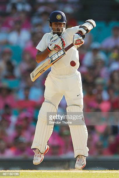 Wriddhiman Saha of India bats during day three of the Fourth Test match between Australia and India at Sydney Cricket Ground on January 8 2015 in...