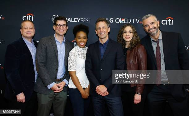 Wrieters Sal Gentile Amber Ruffin Jenny Hagel and Alex Baze join Seth Meyers during the PaleyFest NY 2017 'Late Night With Seth Meyers' at The Paley...