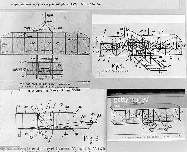 Wright brothers aeroplane patented plans drawings by WB Robinson from Wright Brothers' specification in the Patent Office