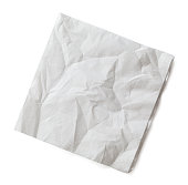 Wrinkled Cocktail Napkin Isolated on White Background.