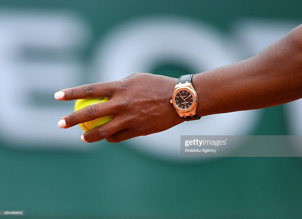 Wrist watch of Serena Williams is seen, during the match against Brazilian Teliana Pereira (not seen) in their women's single second round match at the French Open tennis tournament at Roland Garros in Paris, France on May 26, 2016.