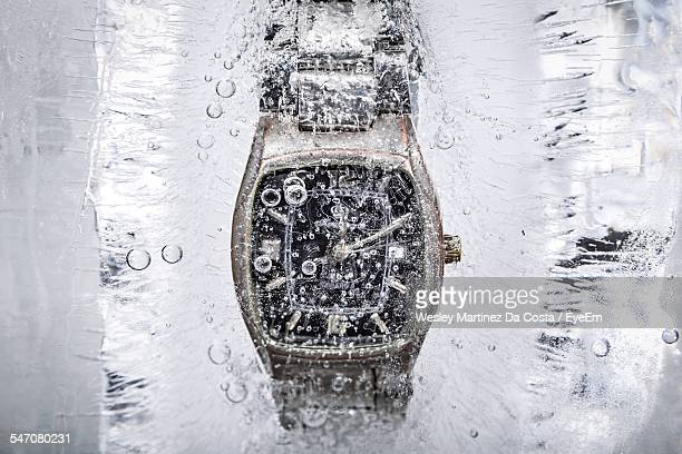 Wristwatch In Ice Block