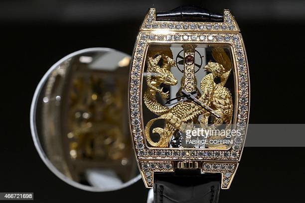 A wristwatch of Swiss watchmaker Corum bought by Chinese Citychamp Watch Jewellery Group Limited is displayed in a showcase on March 18 2015 during...