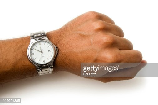 Wristwatch on a wrist - clipping path