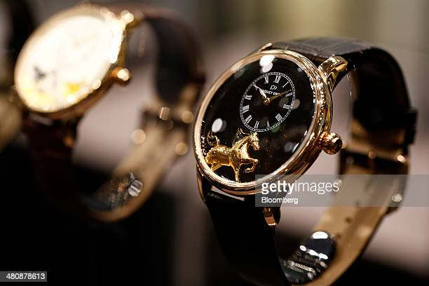 A wristwatch produced by Jaquet Droz a unit of Swatch Group AG and designed for the Chinese New Year the year of the Horse sits on display at the...