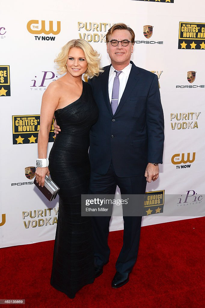 Writer Aaron Sorkin and Carrie Keagan attend the 19th Annual Critics' Choice Movie Awards at Barker Hangar on January 16 2014 in Santa Monica...