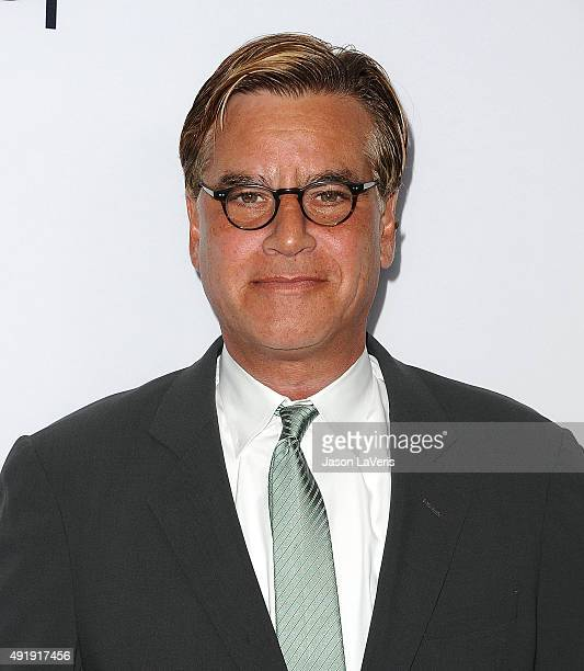 Writer Aaron Sorkin attends a screening of Universal Pictures' 'Steve Jobs' on October 8 2015 in Los Angeles California