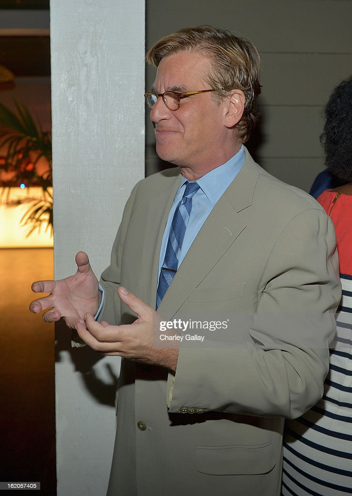 """Writer Aaron Sorkin attends Vanity Fair and Juicy Couture's Celebration of the 2013 """"Vanities"""" Calendar hosted by Vanity Fair West Coast Editor Krista Smith and actress Olivia Munn in support of the Regional Food Bank of Oklahoma, a member of Feeding America, at the Chateau Marmont on February 18, 2013 in Los Angeles, California."""