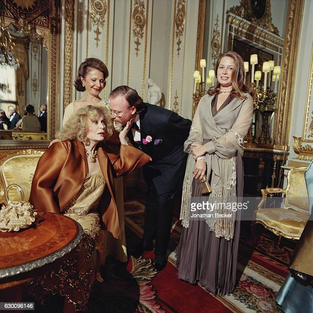 Writer Aileen Mehle philanthropist Cecile Zikha HSH Prince Pierre d'Arenberg and Princess Sylvie d'Arenberg are photographed for Vanity Fair Magazine...