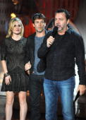 Writer Alan Ball speaks onstage with actors Anna Paquin and Stephen Moyer during Spike TV's 'Scream 2010' at The Greek Theatre on October 16 2010 in...