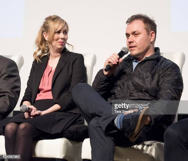 Writer Allison Schroeder and producer/writer Theodore Melfi speak during the 2017 Writers Guild annual Beyond Words panel event at Writers Guild...
