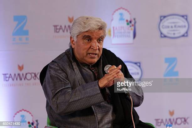 Writer amp Lyricist Javed Akhtar speaks at the Jaipur Literature Festival at Diggi Palace in Jaipur Rajasthan India on 22 Jan2017
