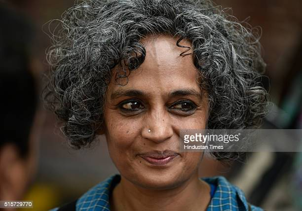 Writer and activist Arundhati Roy during a march by JNU students from Mandi House to Parliament to demand the release of Umar Khalid and Anirban...