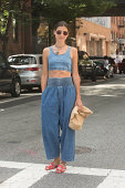 Writer and Definer App founder Felicity Sargent wears a wears 69 denim top and bottom Prada and Isabel Marant on Day 4 of New York Fashion Week...