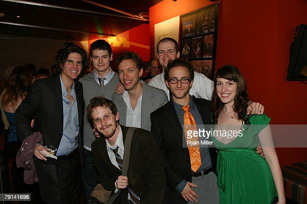 Writer and director Alex Timbers and composer and lyricist Michael Friedman pose with cast member actors Benjamin Walker Matthew Rocheleau Adam...
