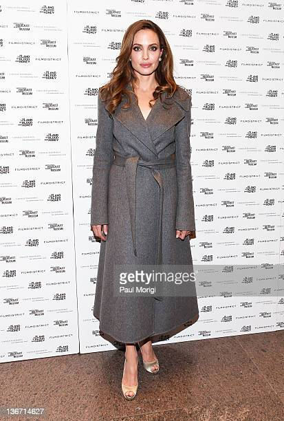 Writer and Director Angelina Jolie arrives at the 'In the Land of Blood and Honey' premiere at the United States Holocaust Memorial Museum on January...