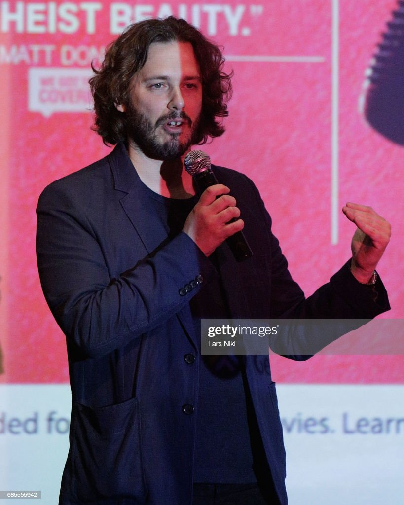 Writer and Director Edgar Wright addresses the audience during the Baby Driver NY Screening Hosted by Aziz Ansari at Crosby Street Hotel on May 19, 2017 in New York City.