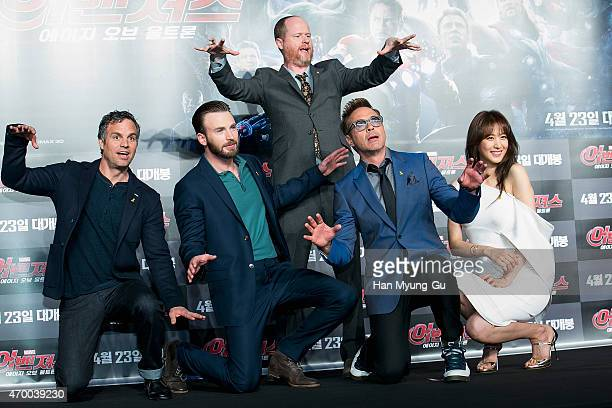 Writer and director Joss Whedon and actors Robert Downey Jr Claudia Kim Chris Evans and Mark Ruffalo attend the press conference for 'Avengers Age Of...