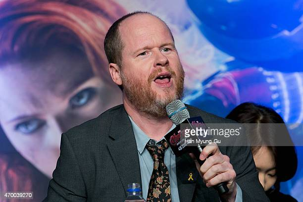 Writer and director Joss Whedon attends the press conference for 'Avengers Age Of Ultron' at Conrad Seoul on April 17 2015 in Seoul South Korea The...