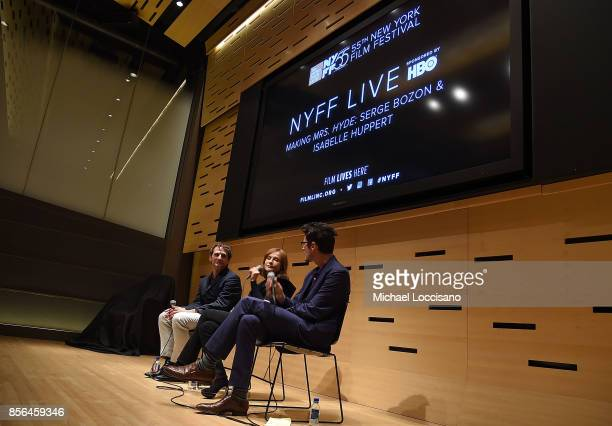 Writer and director Serge Bozon actress Isabelle Huppert and moderator Nicholas Elliott take part in a discussion about the film Making Mrs Hyde...