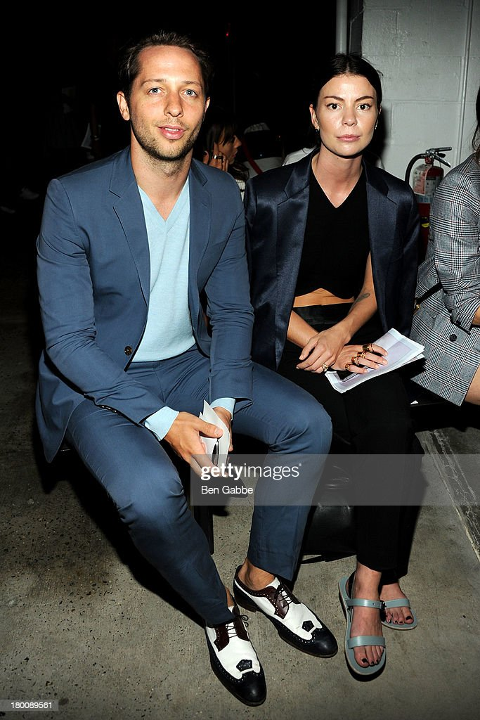 Writer and editor Derek Blasberg and Annina Mislin attend Band Of Outsiders Women's during Mercedes-Benz Fashion Week Spring 2014 on September 8, 2013 in New York City.