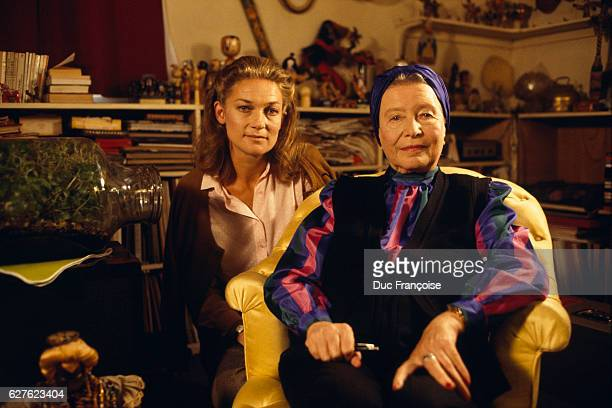 Writer and philosopher Elisabeth Badinter with French novelist Simone de Beauvoir at home during a recording for the program Le Deuxiéme Sexe